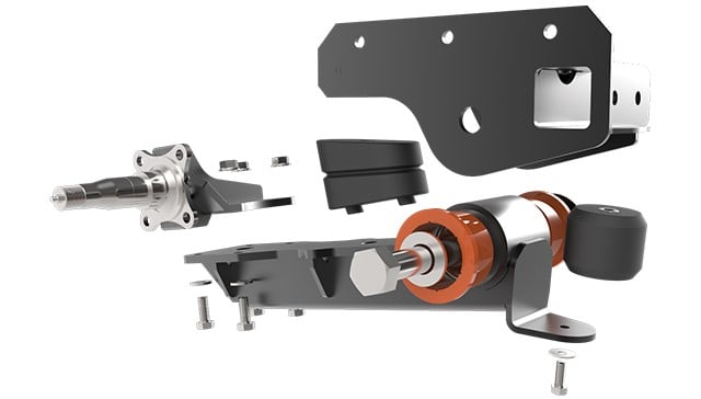 Timbren single axle-less trailing arm suspension.